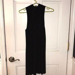 High neck black casual dress